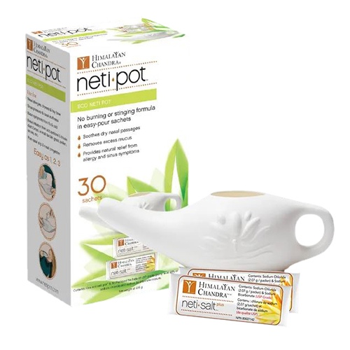 Himalayan Institute - Eco Neti Pot with 30 Neti Salt sachets 7 oz by Himalayan Institute