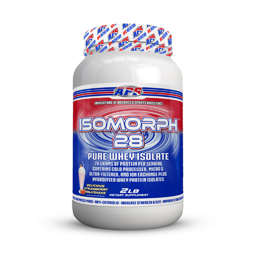 Isomorph 28 Strawberry Milkshake 2 lbs by Aps Nutrition IsoMorph 28 pure whey isolate is the endall  beall AAArated whey protein isolate product. In fact  its not just a whey protein isolateit is 4 ultrapure whey protein isolate  including hydrolyzed whey protein isolate. APS manufactures IsoMorph 28 pure whey isolate in our GMP facility. We guarantee this to be the purest and freshest whey protein isolate available anywhere. 90% of the companies that sell protein dont actually manufacture it theyre just marketers. At APS Nutrition  we manufacture our protein in our own GMP facility  so we control all aspects of the manufacturing process from start to finish. IsoMorph 28 pure whey isolate contains extremely small protein molecules that are literally 18x smaller than the proteins from almost every other product on the market (1000 Daltons vs 18 000 Daltons). This means that they can be completely absorbed because the intestinal wall allows them to pass through thanks to their small size. Since these small proteins get into your bloodstream via the small intestine  they get to work right away and require minimal effort from your digestive system. IsoMorph 28 pure whey isolate provides the highest quality whey isolate protein available with a higher amino acid profile  gram for gram  than ordinary whey protein. Protein is for everyone! Whether youre a bodybuilder  athlete  business professional  or student  protein is an essential component of overall health! IsoMorph 28 pure whey isolate gives you a quick and economical way to increase your daily protein intake. Each serving contains a complete array of whey protein fractions  is high in the essential amino acids  and rich in glutamine peptides  giving you the right tools for muscle growth and preservation. IsoMorph 28 pure whey isolate contains only the purest  highest quality whey protein isolate to help you reach your health and fitness goals. Whey protein isolate is 90% protein by weight  making it low in carbs  low in fat and virtually lactose freeand it delivers a wh