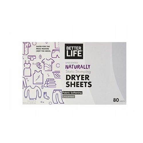 Dryer Sheet Grapefruit Lavender 80 CT by Better Life UnscentedNaturally Static StompingFabric Softening