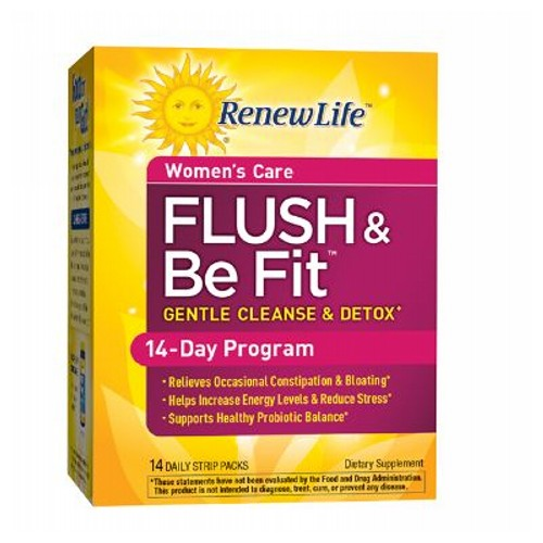 Flush & Be Fit 3-Part Kit by Renew Life This gentle cleanse and detox comes in convenient, daily strip packs to use at home or on the go.* Morning Pack supports detoxification and urinary health; Afternoon Pack relieves occasional bloating, promotes flora balance and supports healthy stress response and energy levels; Evening Pack promotes healthy bowel elimination.*