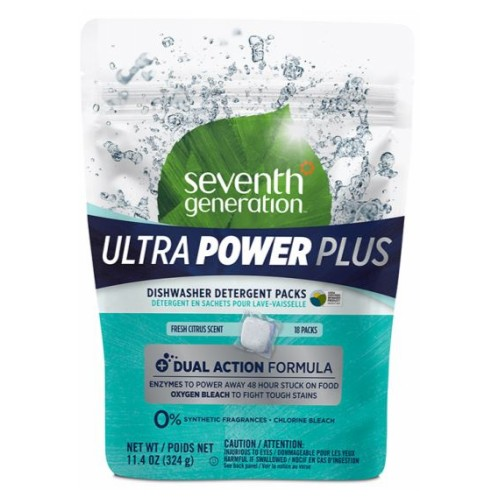 Dishwasher Detergent Packs 18 Count by Seventh Generation Dishwasher Packs remove even dried, stuck-on food Dishwasher Packs for convenient, no-guess, no-waste single-pack dosing Dishwasher Packs contain no chlorine, phosphates or synthetic fragrances Dishwasher Packs in resealable pouch.