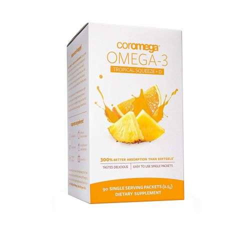 Coromega - Omega-3 Tropical Squeeze +D Tropical Orange 90 Count by Coromega