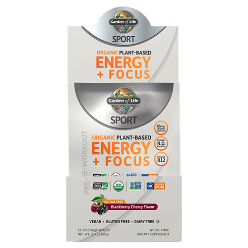 Sport Organic Plant-Based Energy Plus Focus Pre-Workout Blackberry Cherry 12 Count by Garden of Life