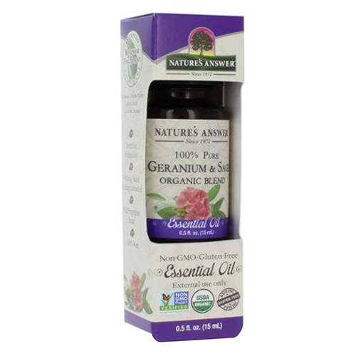 Organic Essential Oil Geranium & Sage 0.5 oz by Nature's Answer