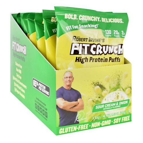 High Protein Puffs Sour Cream and Onion 8 Count by Fit Crunch Bars