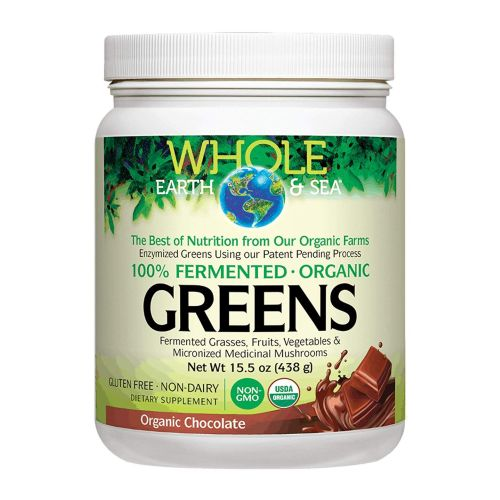 Natural Factors - Whole Earth & Sea Fermented Organic Greens Chocolate 15.5 Oz by Natural Factors