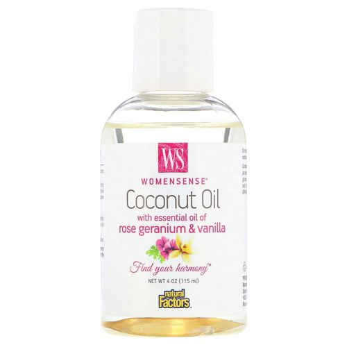 Coconut Oil with Essential Oil of Rose Geranium & Vanilla 4 Oz by Natural Factors