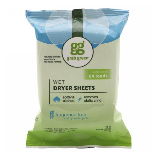 Wet Dryer Sheets Fragrance Free 32 Count by Grab Green Wet Dryer Sheets Fragrance Free 32 CountGrab Green