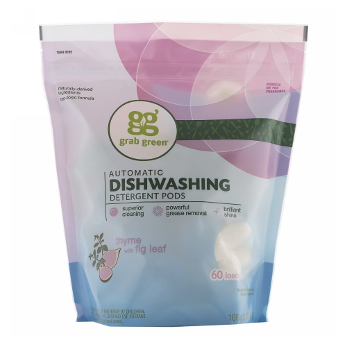 Automatic Dishwashing Detergent Pods Thyme 60 Loads by Grab Green Automatic Dishwashing Detergent Pods Thyme 60 LoadsGrab Green