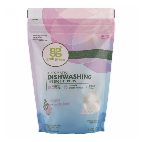 Dishwasher Detergent Pods Thyme with Fig Leaf 432 Grams by Grab Green Dishwasher Detergent Pods Thyme with Fig Leaf 432 GramsGrab Green