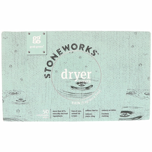 Stoneworks Dryer Sheets Rain 50 Count by Grab Green Stoneworks Rain swells from the pure joy of droplets falling on our faces  hearkens to innocent days of blissfully splashing through puddles  and reminds us to remain wideeyed and grateful as we journey through life.