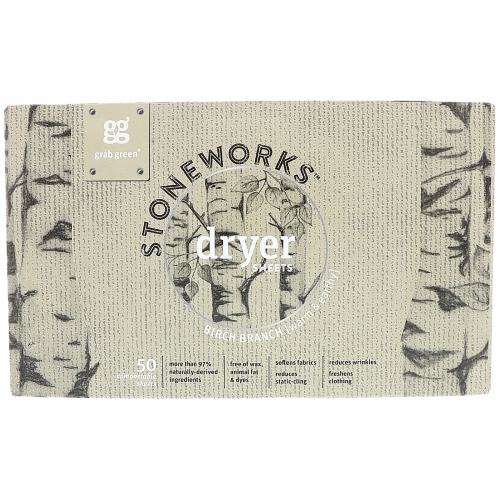 Stoneworks Dryer Sheets Birch Branch 50 Count by Grab Green Stoneworks Birch Branch stems from the satisfaction we receive when we drop the hum and buzz of everyday life and seek out the textures and simplicities of Mother Nature. This handcrafted scent is warm & earthy  and is meant to bring a little more perspective to your everyday activities.