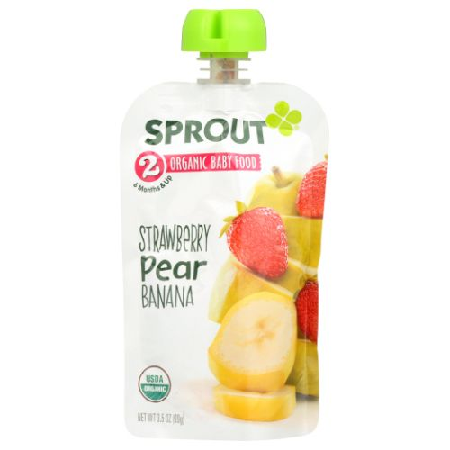 Organic Baby Food Strawberry Pear Banana 3.5 Oz by Sprout