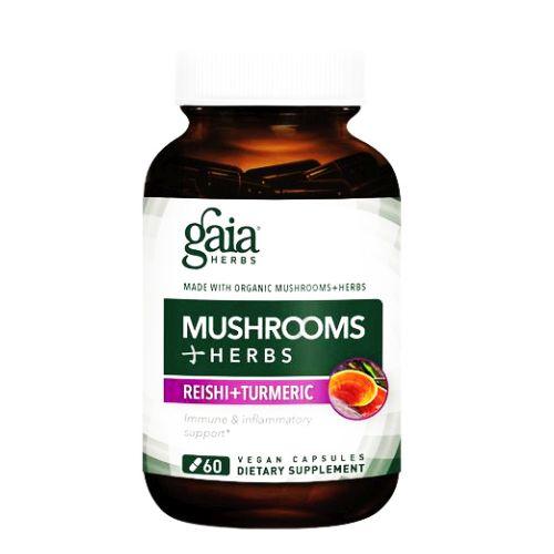 Gaia Herbs - Mushrooms + Herbs Reishi+Turmeric 60 Caps by Gaia Herbs