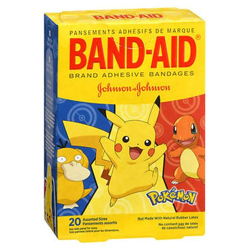 BandAid Adhesive Bandages Pokemon Assorted Sizes 20 Each by BandAid For use on minor cuts and scrapes. Not made with natural rubber latex. 10  3/4 in x 3 in (1.9 cm x 7.6 cm) 10  5/8 in x 21/4 in (1.6 cm x 5.7 cm). Design assortment may vary. Sterile unless individual wrapper is opened or damaged.