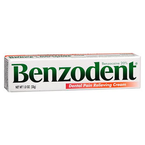 Benzodent Dental Pain Relieving Cream 1 Oz by Benzodent For the temporary relief of pain due to minor irritation of the mouth and gums caused by dentures or orthodontic appliances or injury to mouth and gums. Dentist recommended. Thick formula lasts for hours. Maximum strength.