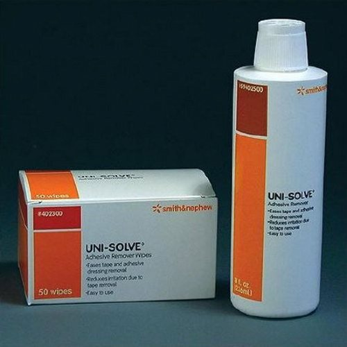 Adhesive Remover UniSolve Liquid 8 oz. - 1 Each by Smith & Nephew Medical Formulated with aloe to reduce adhesive trauma to the skin by thoroughly dissolving dressing, tape and appliance adhesives.Ideal for removing ostomy faceplate adhesive bandages as well as acrylic and hydrocolloid based adhesives.UNI-SOLVE? does not contain CFCs (chlorinated fluorocarbons) or preservatives.Non-sensitizing, non-irritating.