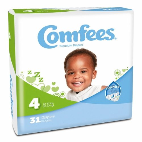 Unisex Baby Diaper Size 4  Case of 124 by Attends Comfees Total Fit System provides ultimate comfort and leakage protectionComfees premium baby diapers  with an ultraabsorbent core  lock away wetness to provide up to 12 hours of DriNite protectionThe unique SoftFlex waistband  patented stretch fasteners  and ultracontoured shape are designed to move with baby to ensure a comfortable  snug  and secure Comfees fitComfees soft hypoallergenic liner  soft outer cover  and perfume free design protect and promote the health of babys delicate skinFun colorful design