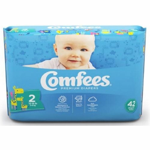 Unisex Baby Diaper Comfees Tab Closure Size 2 Disposable Moderate Absorbency - Case of 168 by Attends Comfees Total Fit System provides ultimate comfort and leakage protectionComfees premium baby diapers, with an ultra-absorbent core, lock away wetness to provide up to 12 hours of DriNite protectionThe unique SoftFlex waistband, patented stretch fasteners, and ultra-contoured shape are designed to move with baby to ensure a comfortable, snug, and secure Comfees fitComfees soft hypoallergenic liner, soft outer cover, and perfume free design protect and promote the health of babys delicate skinFun colorful design