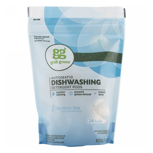 Dishwasher Detergent Pods Fragrance Free 432 Grams by Grab Green Dishwasher Detergent Pods Fragrance Free 432 GramsGrab Green