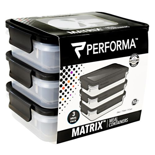 Meal Prep Containers Punisher 3 Each by PerfectShaker Performa. 3 Meal Pack. BPA Free. Matrix. Meal Containers. 3rd Party Tested. Microwave Safe. Freezer Safe. Dishwasher Safe. BPA Free: Non-Toxic And 3rd Party Tested. EXTRALAST UV INK: Designed To Protect From Fading And Chipping. Stack Or Nest For Storage. 100% Leak Proof And Airtight. DURAPLEX Made With Shatter Resistant Polymer Blend + Icon. Easy Grab And Close Tabs. Perfoma Is Performance.