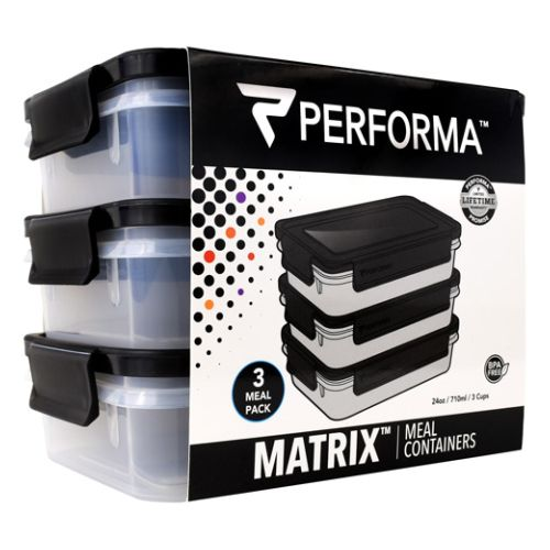Meal Prep Containers Batman 3 Each by PerfectShaker Performa. 3 Meal Pack. BPA Free. Matrix. Meal Containers. 3rd Party Tested. Microwave Safe. Freezer Safe. Dishwasher Safe. BPA Free: Non-Toxic And 3rd Party Tested. EXTRALAST UV INK: Designed To Protect From Fading And Chipping. Stack Or Nest For Storage. 100% Leak Proof And Airtight. DURAPLEX Made With Shatter Resistant Polymer Blend + Icon. Easy Grab And Close Tabs. Perfoma Is Performance.