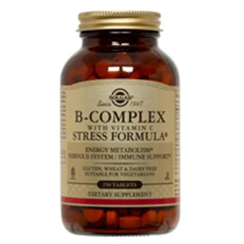 B-Complex with Vitamin C Stress Formula Tablets 100 Tabs by Solgar Since 1947 Dietary Supplement Energy Metabolism* Nervous System / Immune Support* Gluten, Wheat  Dairy Free Suitable for Vegetarians