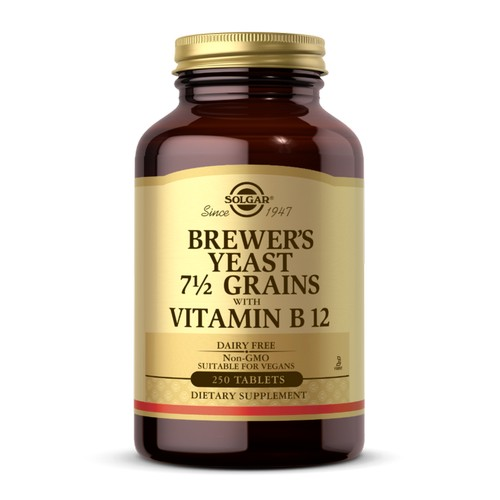 Brewer's Yeast 7 1/2 Grains Tablets with Vitamin B12 250 Tabs by Solgar Considered as Dietary SupplementKosher ParveSince 1947Sugar, Salt and Starch Free Suitable for Vegetarians