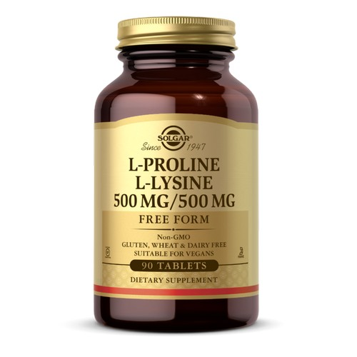 L-Proline/L-Lysine Tablets (500/500 mg) 90 Tabs by Solgar Considered as Dietary SupplementGluten, Wheat & Dairy Free Kosher ParveSince 1947Suitable for Vegetarians