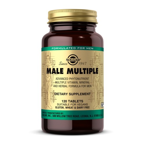 Male Multiple Tablets 120 Tabs by Solgar Since 1947 Dietary Supplement Sugar and Starch Free Suitable for Vegetarians