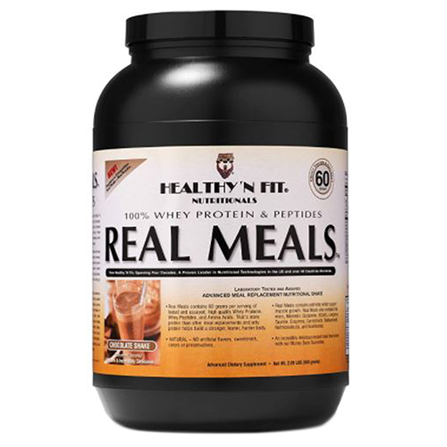 Real Meals Chocolate Powder 2.09 lbs by Healthy 'n Fit 60 grams of 100% Whey Protein & Peptides Lean Muscle Stimulators, Thermogenic Fat Metabolizers, Multi Vitamin and Mineral Complex ZMA, Methoxyisoflavone, Ipriflavone, Whole Food Concentrates Glutamine, BCAA's, L-Arginine, Taurine, Ketoisocaproate, L-Carnitine. REAL MEALS also contains over 40 Vitamins, Minerals and Nutrients vital to post ops? including 100% of the recommended daily intake of Vitamin E, a full 70% of Calcium (over 100% if made with low fat milk), Vitamin B12, Biotin and other nutrients (to help prevent hair loss sometimes found in Bariatric post ops) and so much more to support optimum health. REAL MEALS contains scientifically documented, guaranteed potency key ingredients, scientifically combined in precise proportions and potencies with additional supporting nutrients. This commitment to quality and purity ensures the most efficacious ingredient compatibility and correct proportionstm technology, resulting in dependability and superior quality. REAL MEALS comes in a resealable (purse sized) fresh pouch that allows you to portion the amount of protein that is best for you and allow you to adjust the portion to meet your individual needs.