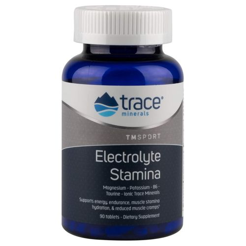 Electrolyte Stamina Tablets 90 Tabs by Trace Minerals Dietary Supplement Now With P-5-P and L-Taurine To Help Increase Stamina and Reduce Cramping High Performance Energy Formula of Balanced Ionic Minerals* Vegan Gluten Free New  Improved